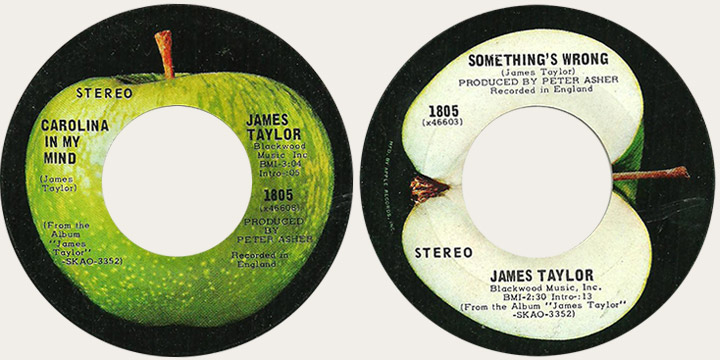 James Taylor Corrected Carolina In My Mind Canadian Apple 45