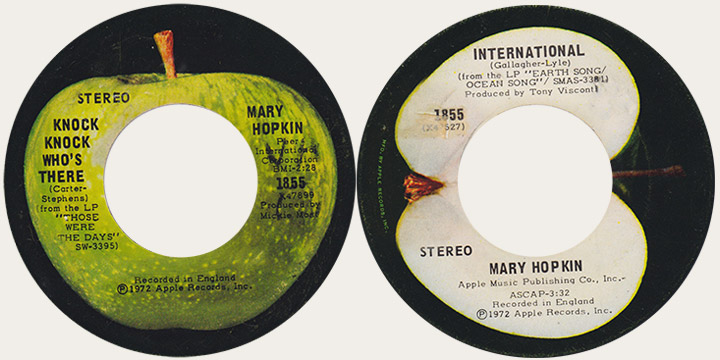 Mary Hopkin Knock Knowck WHo's There Canadian Apple 45
