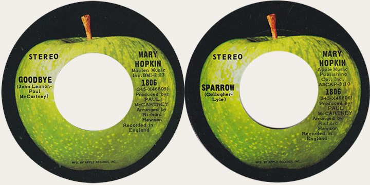 Mary Hopkin Goodbye Canadian Apple 45